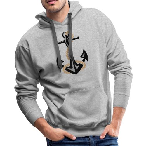 Classic Nautical Anchor and Rope Design - Men's Premium Hoodie