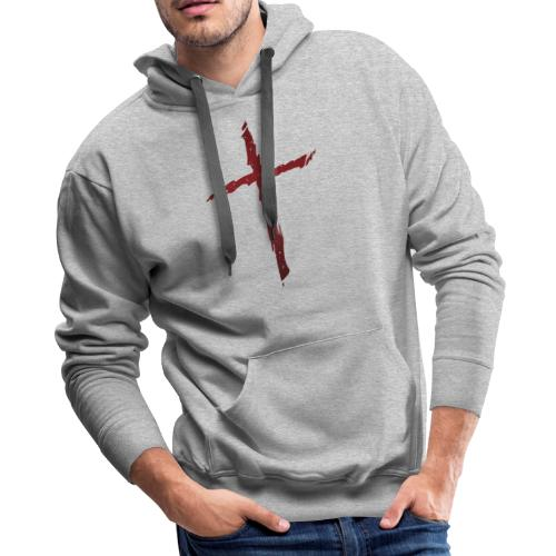 Old rugged distressed christian cross - Men's Premium Hoodie