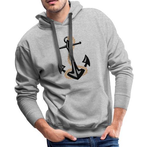 Classic Nautical Anchor and Rope Design - Men's Premium Hoodie