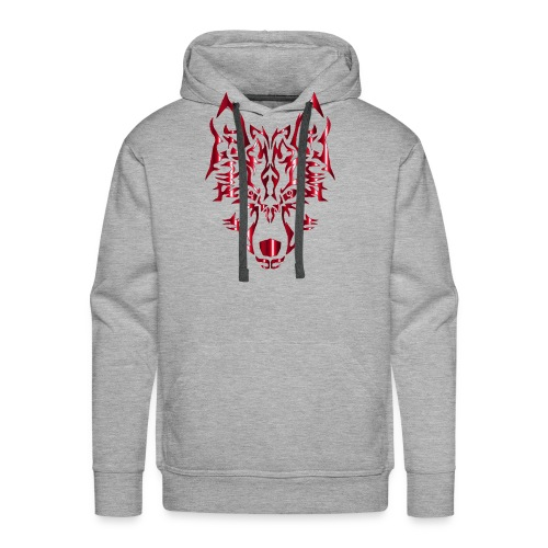 Crimson Symmetric Tribal Wolf No Background - Men's Premium Hoodie