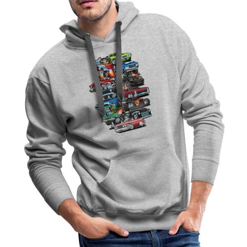 Car Madness! Muscle Cars and Hot Rods Cartoon - Men's Premium Hoodie