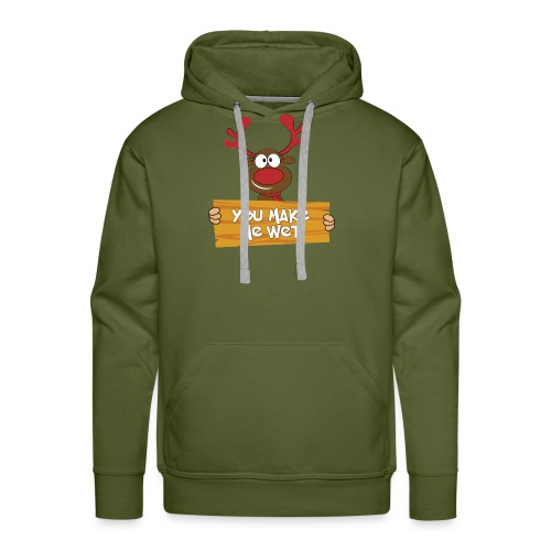 Red Christmas Horny Reindeer 5 - Men's Premium Hoodie