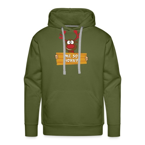 Red Christmas Horny Reindeer 3 - Men's Premium Hoodie