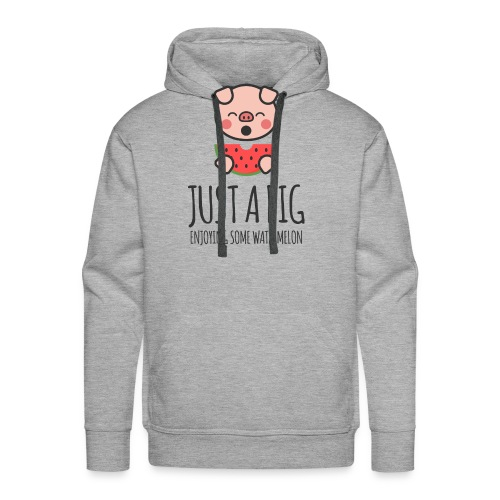 Just A Pig Enjoying Some Watermelon - Men's Premium Hoodie