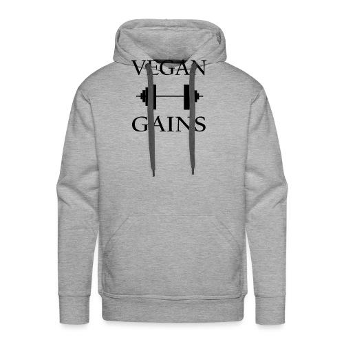 Vegan Gains in black font - Men's Premium Hoodie