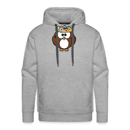 Owl With Flowers On Head T-Shirt - Men's Premium Hoodie