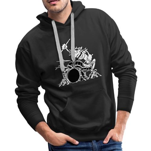 Crazy Drummer Cartoon Illustration - Men's Premium Hoodie