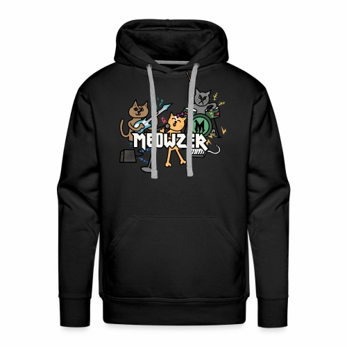 Meowzer! Funny Cute Cat Kitty Band, Adorable Silly - Men's Premium Hoodie