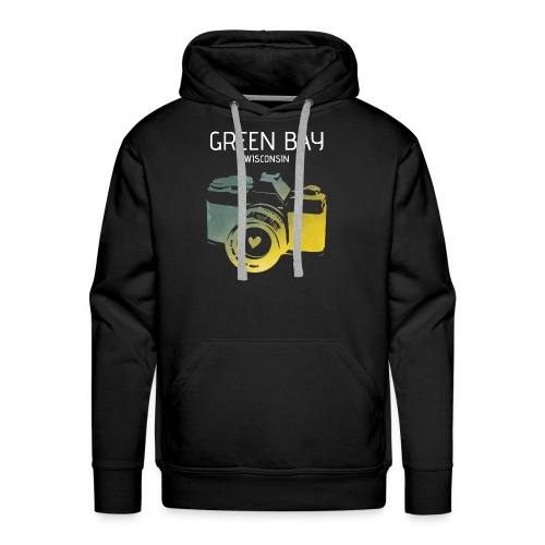 Green Bay camera with heart - Men's Premium Hoodie