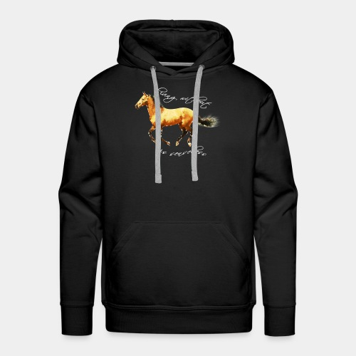 Never live without horse lover art polygon - Men's Premium Hoodie