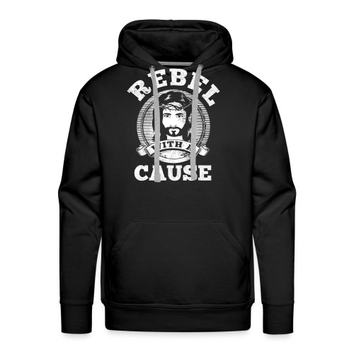 Rebel with a cause WHITE VINTAGE print - Men's Premium Hoodie