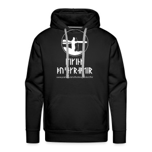 The Viking Bushcrafter Logo With Runes - Men's Premium Hoodie