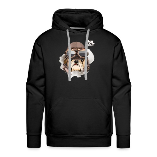 Portrait Bulldog Vintage Leather Aviator Helmet - Men's Premium Hoodie