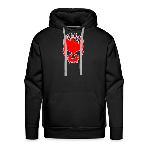 Flaming Red Skull with Tribal Flames - Men's Premium Hoodie