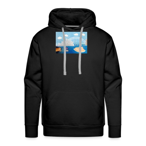 Sydney Harbour Sand Art 800x554 - Men's Premium Hoodie