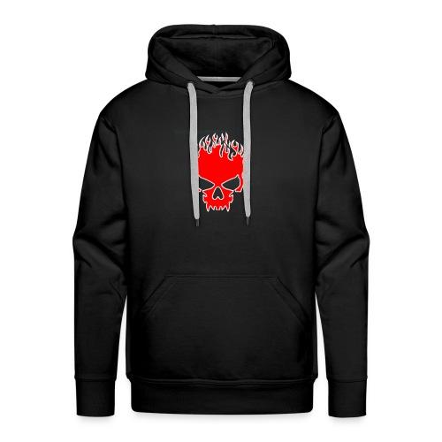 Flaming Red Skull with Tribal Flames - Men's Premium Hoodie
