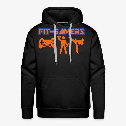 FIT-GAMERS Logo w/ Icons - Men's Premium Hoodie