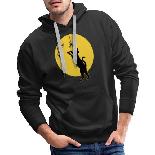 Full Moon with Black Cat and Spiders Halloween - Men's Premium Hoodie