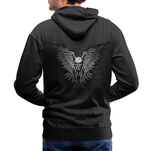 Classic Distressed Skull Wings Illustration - Men's Premium Hoodie