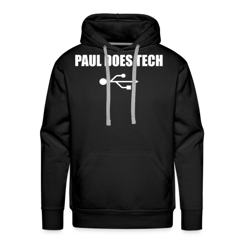 Paul Does Tech White Logo With USB - Men's Premium Hoodie
