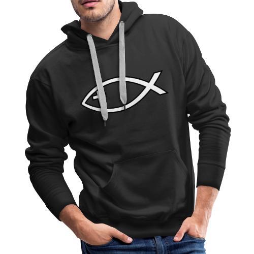 Ichthus with Cross Christian Fish Symbol - Men's Premium Hoodie