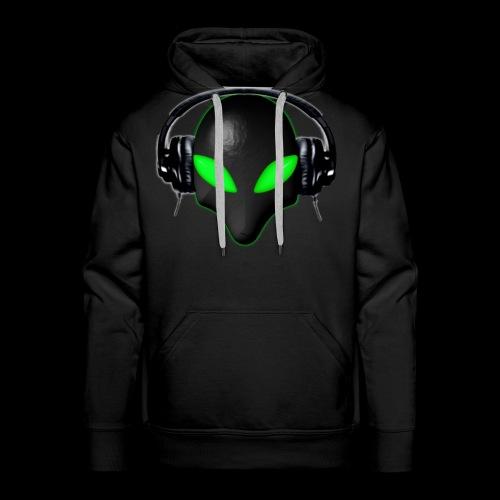 Alien Bug Face Green Eyes in DJ Headphones - Men's Premium Hoodie