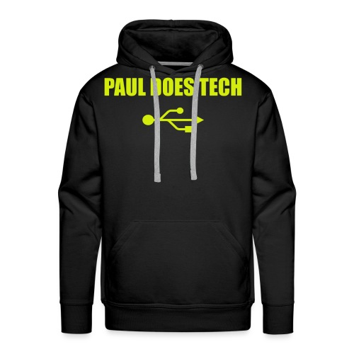 Paul Does Tech Logo Yellow With USB (BS) - Men's Premium Hoodie