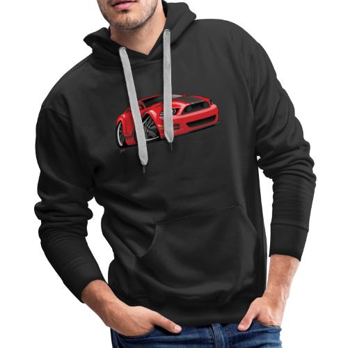 American Muscle Car Cartoon Illustration - Men's Premium Hoodie