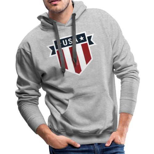 USA Pride Red White and Blue Patriotic Shield - Men's Premium Hoodie