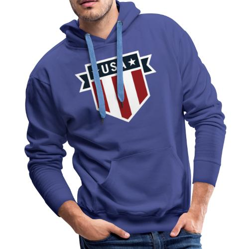 USA Pride Red White and Blue Patriotic Shield - Men's Premium Hoodie