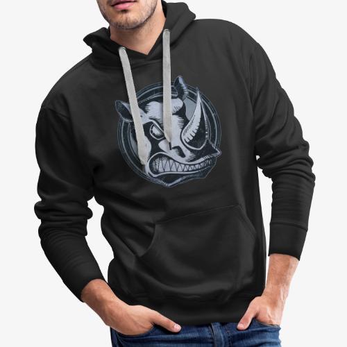Wild Rhino Grunge Animal - Men's Premium Hoodie