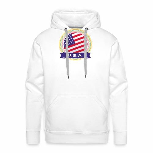 U.S.A. Happy Holi Color Framed U.S.A. Flag Banner - Men's Premium Hoodie