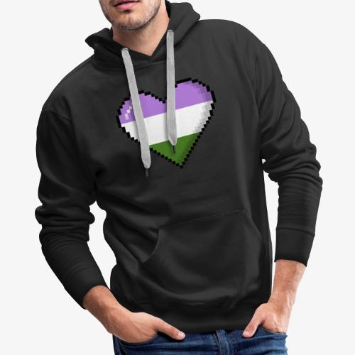 Genderqueer Pride 8Bit Pixel Heart - Men's Premium Hoodie