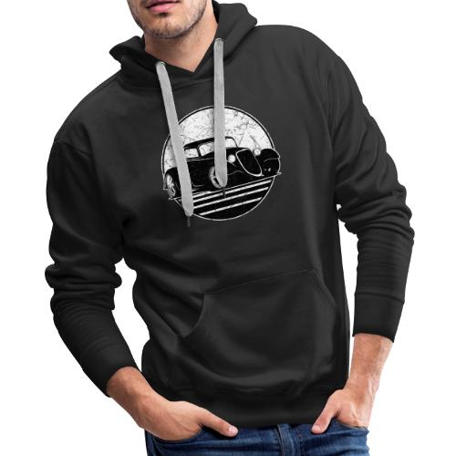Retro Hot Rod Grungy Sunset Illustration - Men's Premium Hoodie