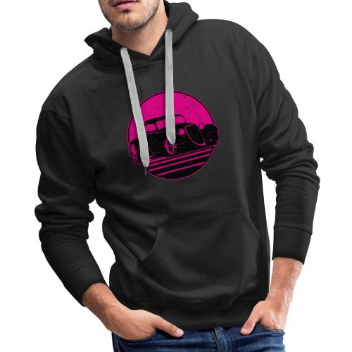 Retro Hot Pink Hot Rod Grungy Sunset Illustration - Men's Premium Hoodie