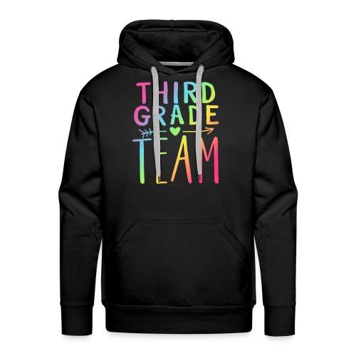 Third Grade Team Neon Rainbow Teacher T-Shirts - Men's Premium Hoodie
