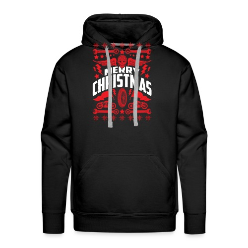 Biker Ugly Christmas Sweater - Men's Premium Hoodie