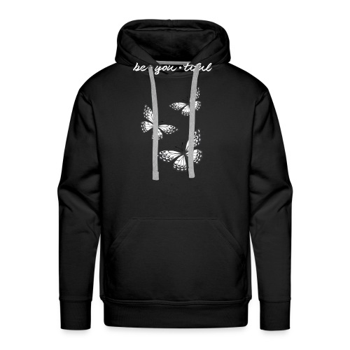 be_you_tiful_grey_white_text - Men's Premium Hoodie