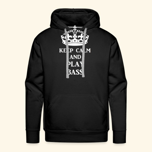 keep calm play bass wht - Men's Premium Hoodie
