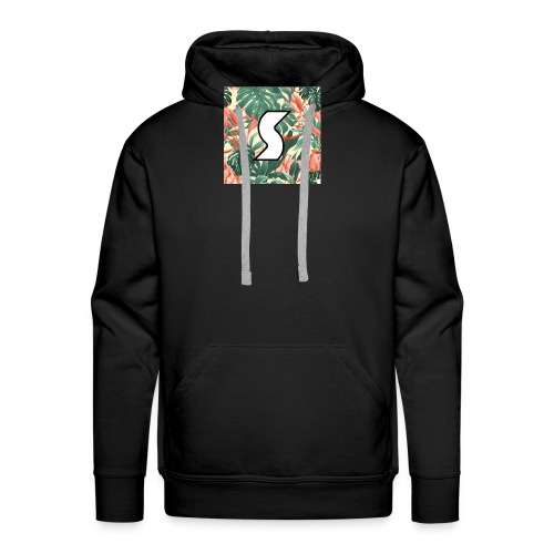 White Tropical Logo Design (Black) - Men's Premium Hoodie