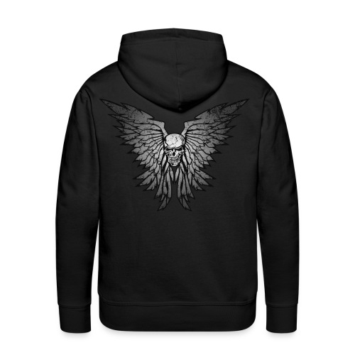 Classic Distressed Skull Wings Illustration - Men's Premium Hoodie