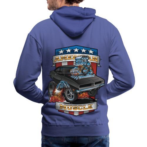 American Muscle Patriotic Muscle Car Cartoon - Men's Premium Hoodie