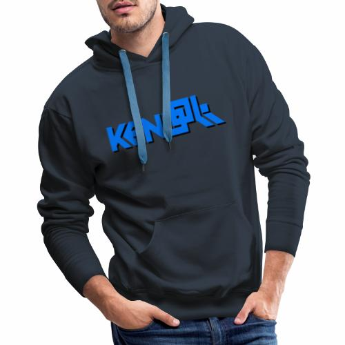 Blue Text Logo - Men's Premium Hoodie