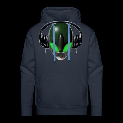 Reptoid Green Alien Face DJ Music Lover - Friendly - Men's Premium Hoodie