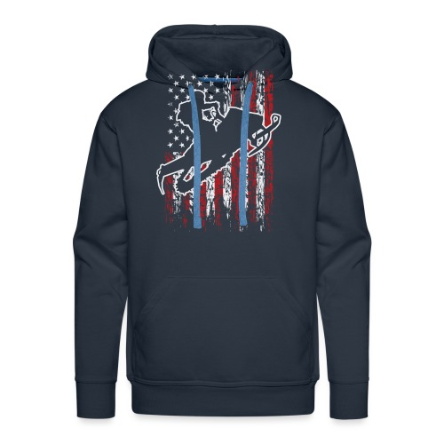 Snowmobiling USA Flag - Men's Premium Hoodie