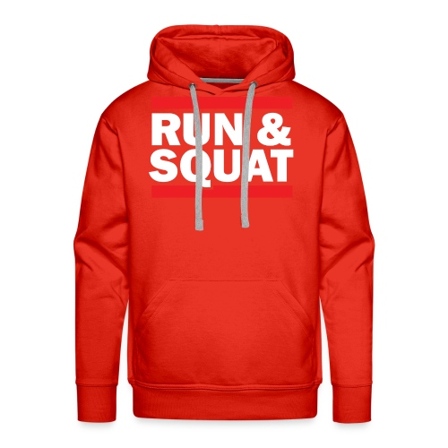 Run Squat White on Dark by Epic Greetings - Men's Premium Hoodie
