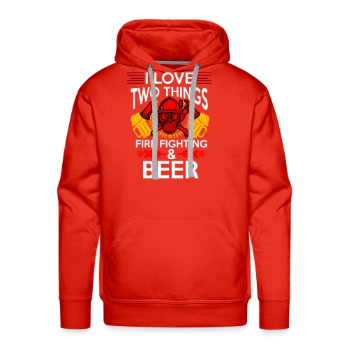 I love Fire Fighter And Beer T-shirt - Men's Premium Hoodie