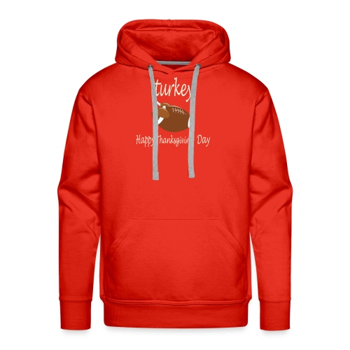 Thanksgiving Day Funny Trukey And Touchdown - Men's Premium Hoodie