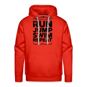 Run Jump Swim Repeat - black imprint - Men's Premium Hoodie