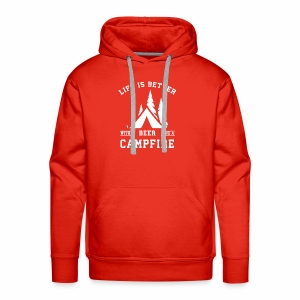 Life is Better with a Beer and a Campfire - Men's Premium Hoodie